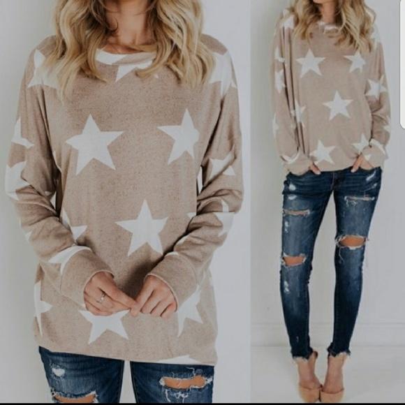 sale Taupe Stars Top Sweater sale a4366c676